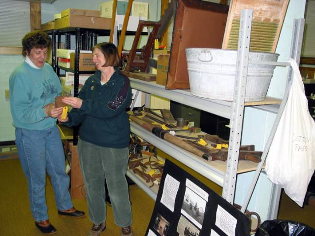 Pat and Janet with the museum collections.